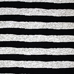 Black Painted Stripe on Heather Gray Hacci Sweater Knit Fabric