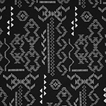 White Aztec Ethnic on Black Hacci Sweater Knit Fabric