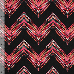 Pink Coral Ornate Chevron on Black Hacci Sweater Knit Fabric