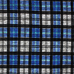 Royal Blue Black Plaid on Heather Gray Hacci Sweater Knit Fabric