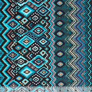 Teal Pink Vertical Diamond Zig Zag Rows Hacci Sweater Knit Fabric