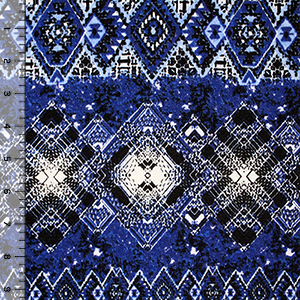 Royal Blue Vintage Ethnic Diamond Argyle Hacci Sweater Knit Fabric