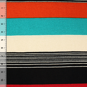 Teal Orange Black Multi Stripe Hacci Sweater Knit Fabric