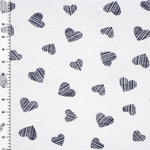 Denim Blue Linear Stamped Hearts on White Hacci Sweater Knit Fabric