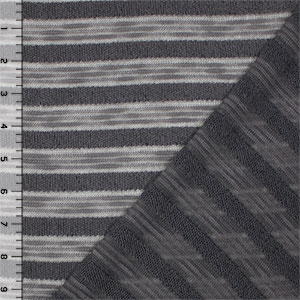 Half Yard Charcoal Gray Stripe Hacci Sweater Knit Fabric