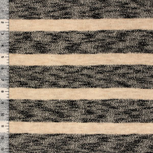 Heather Black Taupe Wide Stripe Hacci Sweater Knit Fabric