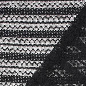Black Stripe Crochet Stitch Hacci Sweater Knit Fabric