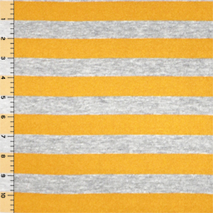 Mustard Yellow Heather Gray Stripe Hacci Sweater Knit Fabric