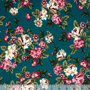 Fuchsia Ivory Roses on Teal Green Hacci Sweater Knit Fabric