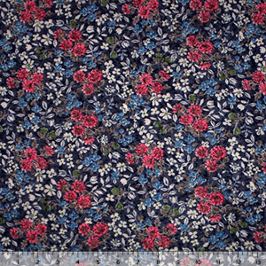 Pink Blue Wildflowers on Navy Hacci Sweater Knit Fabric