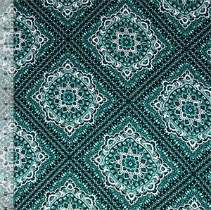 Floral Diamond Emblems on Teal Green Hacci Sweater Knit Fabric