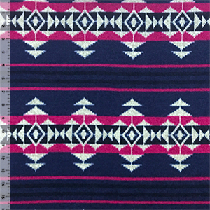 Fuchsia Navy Southwest Blanket Hacci Sweater Knit Fabric