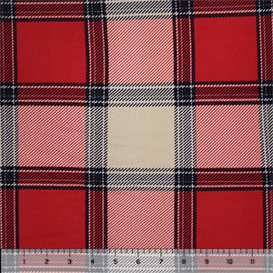 Red Navy Beige Plaid Hacci Sweater Knit Fabric