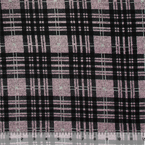 Lilac Black Plaid Brushed Hacci Sweater Knit Fabric