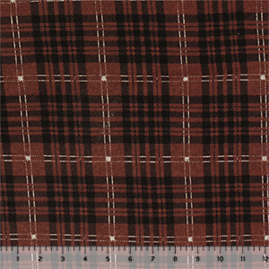Rust Black Plaid Brushed Hacci Sweater Knit Fabric