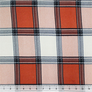 Coral Deep Navy Big Plaid Hacci Sweater Knit Fabric