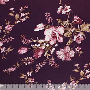 Mauve Floral on Plum Hacci Sweater Knit Fabric