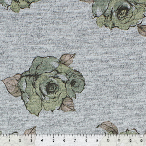 Sage Peach Painted Floral on Heather Gray Hacci Sweater Knit Fabric