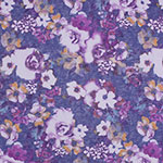 Purple Mustard Watercolor Floral on Denim Hacci Sweater Knit Fabric