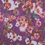 Coral Pink Watercolor Floral on Purple Hacci Sweater Knit Fabric