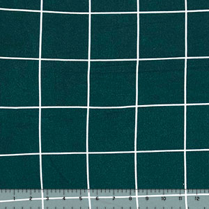 White Square Lines on Deep Teal Green Hacci Sweater Knit Fabric