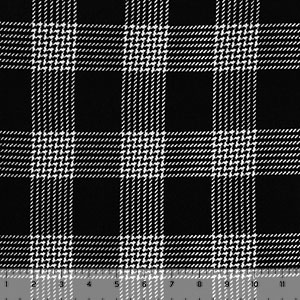 White Houndstooth Plaid on Black Hacci Sweater Knit Fabric