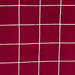 White Square Lines on Deep Maroon Red Hacci Sweater Knit Fabric