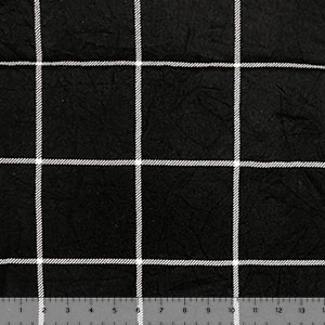 White Big Plaid Squares on Black Hacci Sweater Knit Fabric