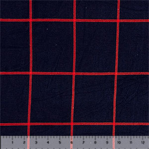 Red Big Plaid Squares on Navy Hacci Sweater Knit Fabric