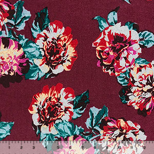 Big Red Fuchsia Roses on Burgundy Brushed Hacci Sweater Knit Fabric