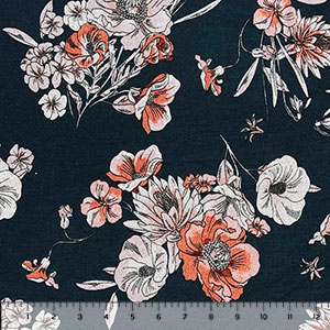 Peachy Heather Gray Drawn Floral on Navy Hacci Sweater Knit Fabric