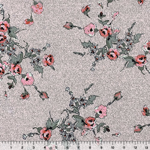 Coral Sage Vintage Floral on Heather Pink Hacci Sweater Knit Fabric