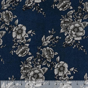 Charcoal Gray Floral on Blue Brushed Hacci Sweater Knit Fabric