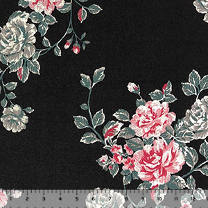 Pink Gray Floral Bouquets on Black  Hacci Sweater Knit Fabric
