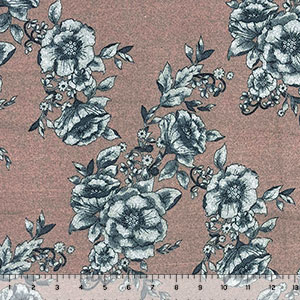 Charcoal Gray Floral on Mauve Heather Brushed Hacci Sweater Knit Fabric