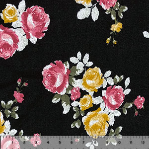 Gold Fuschia Floral Bouquets on Black Hacci Sweater Knit Fabric