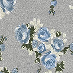 Chalk Blue Floral Bouquets on Heather Gray Hacci Sweater Knit Fabric