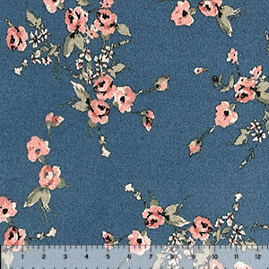 Mauve Sage Vintage Floral on Cornflower Hacci Sweater Knit Fabric