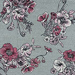 Pinky Fuchsia Drawn Floral on Heather Gray Hacci Sweater Knit Fabric