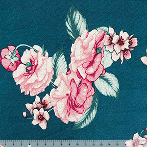 Half Yard Big Pink Red Floral on Teal Blue Green Hacci Sweater Knit Fabric