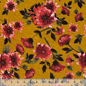 Pink Maroon Daisy Floral on Mustard Heather Brushed Hacci Sweater Knit Fabric