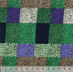 Purple Green Cross Hatched Squares Hacci Sweater Knit Fabric