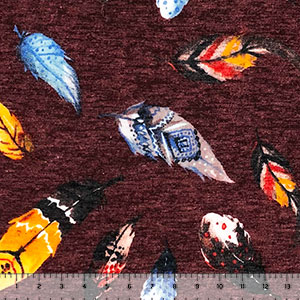 Jewel Falling Feathers on Heather Burgundy Hacci Sweater Knit Fabric