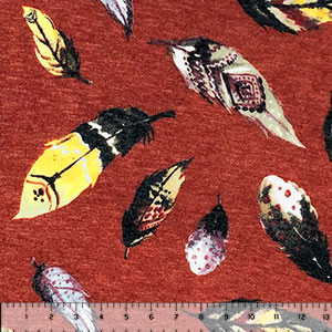 Jewel Falling Feathers on Heather Brick Hacci Sweater Knit Fabric