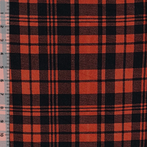 Brushed Black Rust Orange Plaid Hacci Sweater Knit Fabric