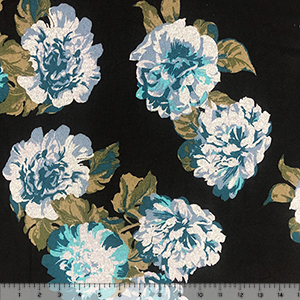Big Teal Heather Gray Floral on Black Hacci Sweater Knit Fabric