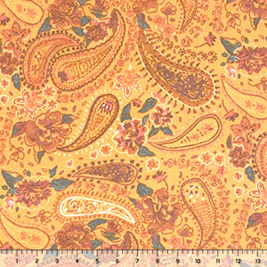 Paisley Floral on Marigold Brushed Hacci Sweater Knit Fabric