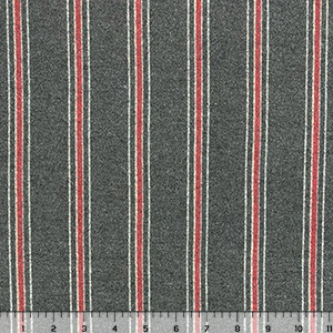 Red Vertical Stripes on Charcoal Brushed Hacci Sweater Knit Fabric
