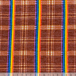 Rust Red Rainbow Stripe Plaid Hacci Sweater Knit Fabric