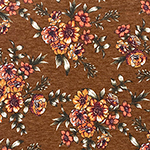 Gold Burgundy Floral on Caramel Hacci Sweater Knit Fabric